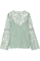 Zimmermann Master Open Knit Trimmed Corded Lace Blouse Mint