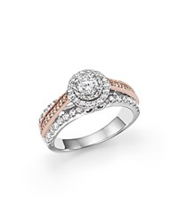 Bloomingdale's Diamond Solitaire Ring With Halo In 14K White And Rose Gold 1.0 Ct. T.W. White Rose