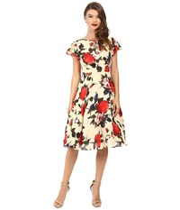 Unique Vintage Formosa Flutter Sleeve Dress Cream Floral Women's Dress Multi