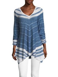 Context Ruched Sleeve Striped Blouse Navy White