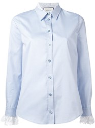 Gucci Lace Cuff Oxford Shirt Blue