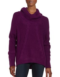 Ivanka Trump Cable Knit Cowlneck Sweater Boysenberry