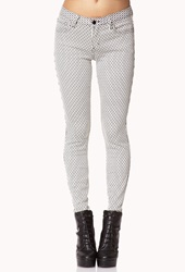 Forever 21 Striped Skinny Jeans Ivory Charcoal