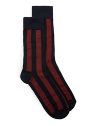 Topman Blue Navy And Burgundy Bold Stripe Socks