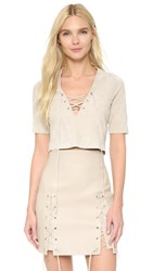 Theperfext Stretch Suede Crop Top Oatmeal