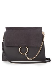 Chloe Faye Medium Suede And Leather Shoulder Bag Charcoal