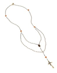 Betsey Johnson Throwback Rosary Cross Pendant Necklace Gold