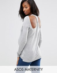 Asos Maternity Jumper With Twist Back Grey