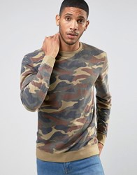 Only And Sons Sweatshirt In Camo Oil Green Camo Green