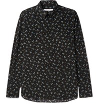 Givenchy Cuban Fit Floral Print Silk Shirt Black