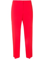 Alexander Mcqueen Cropped Trousers Silk Polyamide Cupro Wool Red
