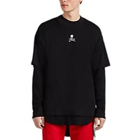 Mastermind Japan Skull Embroidered Cotton Oversized T Shirt Black