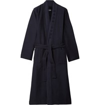 Hugo Boss Waffle Knit Cotton Blend Dressing Gown Blue