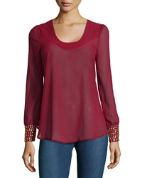 Romeo And Juliet Couture Long Sleeve Chiffon Blouse W Golden Detail Oxblood