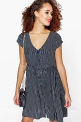 Boohoo Polka Dot Smock Dress Navy