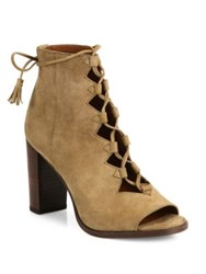 Frye Gabby Ghillie Suede Lace Up Booties Cashew