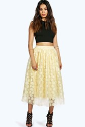 Boohoo Contrast Lace Tull Midi Skirt Champagne