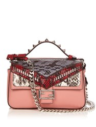 Fendi Double Micro Baguette Leather Cross Body Bag Pink Multi