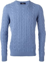 Fay Cable Knit Jumper Blue