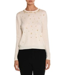 Miu Miu Beaded Crewneck Sweater Ivory