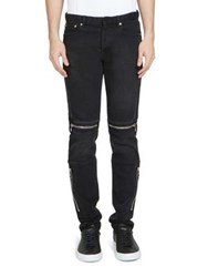 Givenchy Straight Fit Zip Moto Jeans Black