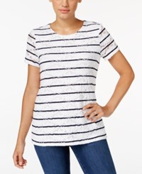 Charter Club Short Sleeve Stripe Allover Lace Top Only At Macy's Intrepid Blue Combo