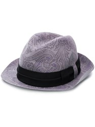 Etro Paisley Print Hat Pink And Purple