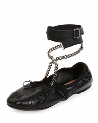 Valentino Rockstud Ballet Chain Ankle Wrap Leather Flat Nero