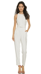 Finders Keepers As You Are Twist Long Jumpsuit Pinstripe White