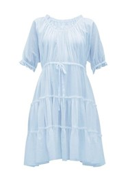 Loup Charmant Kassos Ruffled Cotton Poplin Midi Dress Light Blue
