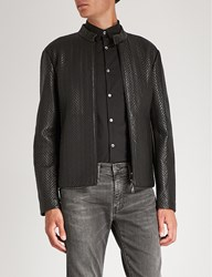 Emporio Armani Quilted Leather Biker Jacket Black