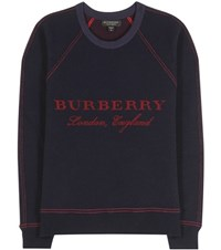 Burberry Wool And Cashmere Blend Sweater Blue