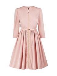 Tara Jarmon Belted Three Quarter Sleeve Full Skirt Dress Pink
