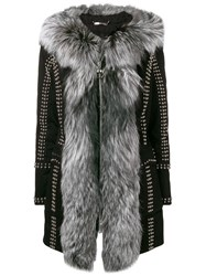 Philipp Plein Studded Zipped Fur Trim Coat Black