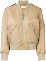 Saint Laurent Zipped Bomber Jacket Nude And Neutrals