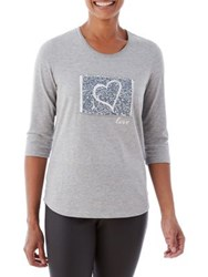 Olsen Berry Love Patched Heart Graphic Tee Moon Grey