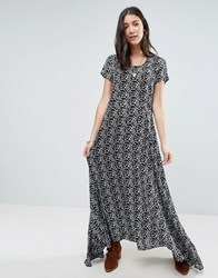 Raga Wild Love Black And White Printed Maxi Dress Black White Multi