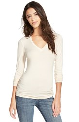 Junior Women's Soprano Long Sleeve V Neck Tee Cheesecake