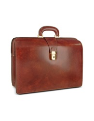 Pratesi Men's Leather Doctor Bag Briefcase W Interior Lighting Brown