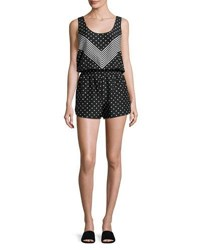 Stella Mccartney Chevron And Polka Dot All In One Romper Coverup Black White Rtw Print