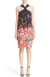 St. John Women's Collection Flamingo Degrade Print Silk Halter Dress