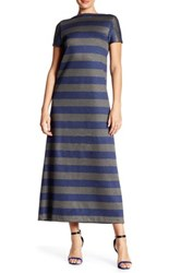Lafayette 148 New York Short Sleeve Striped Dress Blue