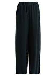 The Row Pavel Wide Leg Cady Trousers Dark Green