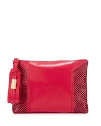 Foley Corinna Clio Laser Cut Leather Clutch Bag Rose