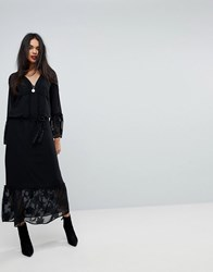 Sisley Maxi Dress With Bell Sleeves Black