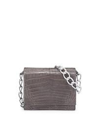 Nancy Gonzalez Small Crocodile Chain Shoulder Bag Grey Black