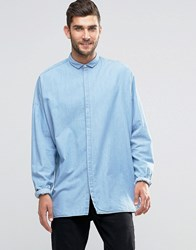 Asos Denim Shirt With Drape In Oversized Fit Blue