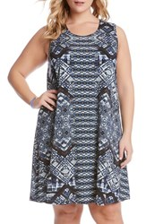 Plus Size Women's Karen Kane 'Maggie' Geo Print Sleeveless Trapeze Dress
