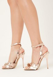 Missguided Rose Gold Ruffle Detail Heeled Sandals