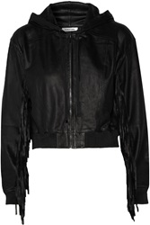 Elizabeth And James Tatum Fringed Leather Hooded Jacket Black